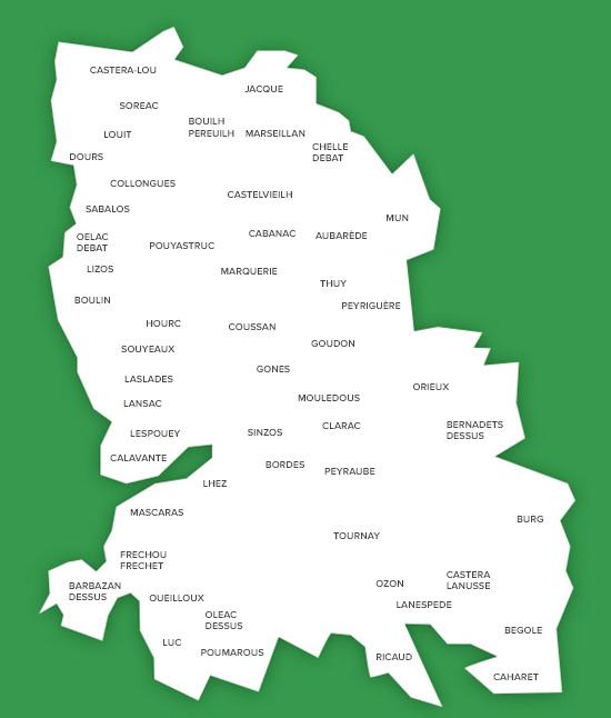 Carte des communes de la communauté de communes des Coteaux du Val d'Arros